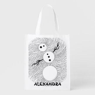 Muñeco de nieve blanco y negro de Z personalizado Bolsas Para La Compra