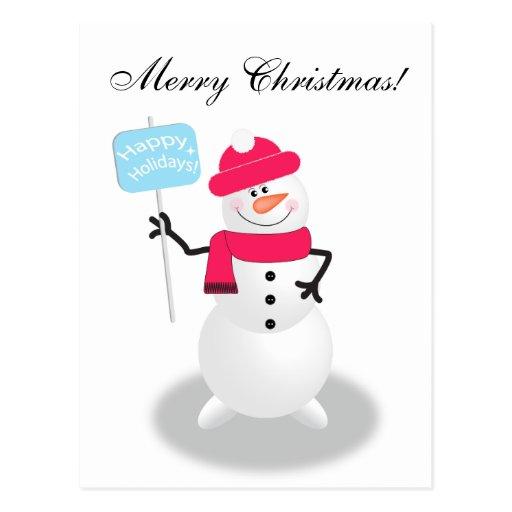 Muñeco de nieve buenas fiestas postal