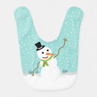 Muñeco de nieve caprichoso feliz el día de navidad baberos para bebé