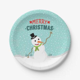 Muñeco de nieve caprichoso feliz el día de navidad platos de papel