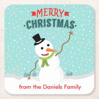Muñeco de nieve caprichoso feliz el día de navidad posavasos de cartón cuadrado