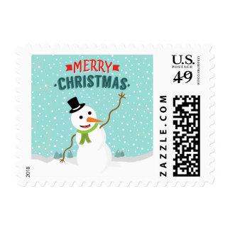 Muñeco de nieve caprichoso feliz el día de navidad timbres postales