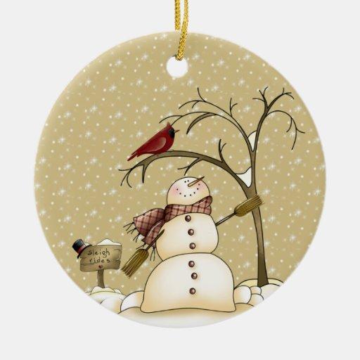 Muñeco de nieve caprichoso y navidad rojo Ornam Adorno Navideño Redondo De Cerámica