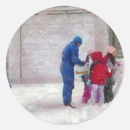 Muñeco de nieve - cirugía reconstructiva pegatinas redondas
