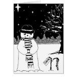 muñeco de nieve con arte blanco y negro de la felicitación