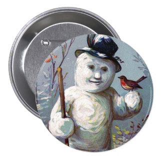 Muñeco de nieve con el botón del vintage del pin