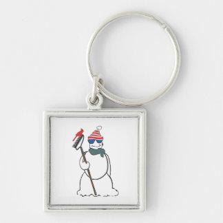 muñeco de nieve con el cardenal llavero cuadrado plateado
