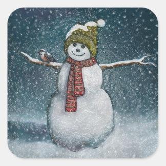 Muñeco de nieve con el Chickadee: Escena del Pegatina Cuadrada