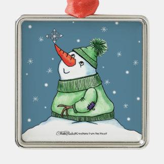 Muñeco de nieve con el copo de nieve en nariz adorno navideño cuadrado de metal
