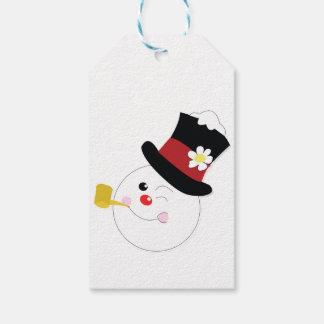 Muñeco de nieve con el gorra de la franja roja etiquetas para regalos