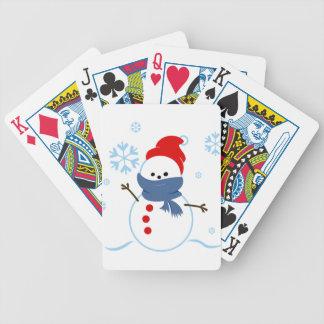 Muñeco de nieve con el gorra rojo cartas de juego