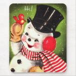 Muñeco de nieve con el pájaro alfombrilla de ratón