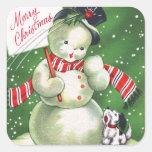 Muñeco de nieve con el perro calcomanía cuadradas