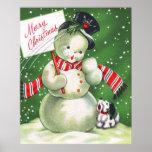 Muñeco de nieve con el perro impresiones