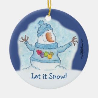 Muñeco de nieve con el suéter remendado adorno redondo de cerámica