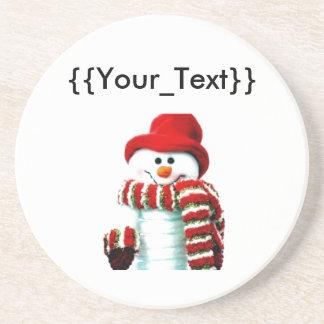 Muñeco de nieve con la bufanda roja posavasos manualidades
