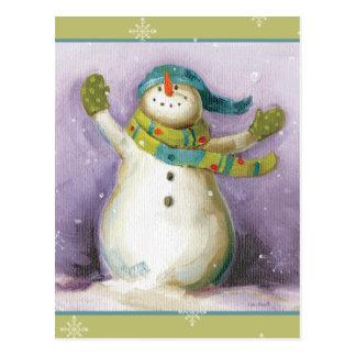 Muñeco de nieve con las manoplas del invierno postal