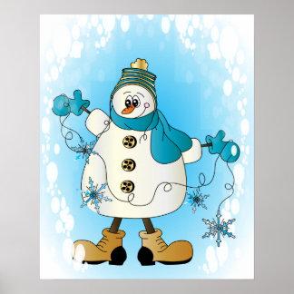 Muñeco de nieve con los copos de nieve azules del posters