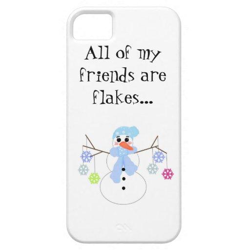 Muñeco de nieve con los copos de nieve iPhone 5 carcasa