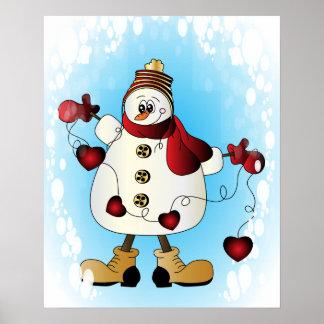 Muñeco de nieve con los corazones rojos del poster