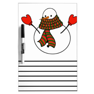 Muñeco de nieve con manoplas rojas y una bufanda pizarras blancas