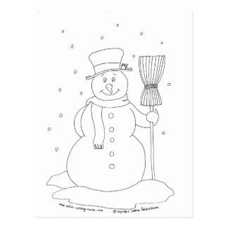 Muñeco de nieve con una escoba postales