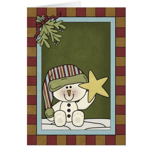 Muñeco de nieve con una estrella tarjeta de felicitación