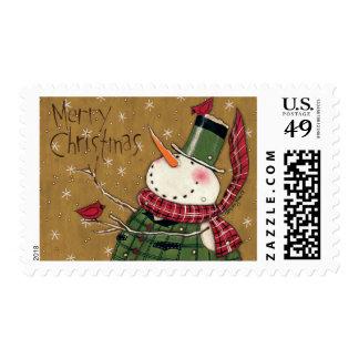 Muñeco de nieve concedido verde timbre postal