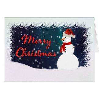 Muñeco de nieve contra una tarjeta estrellada de