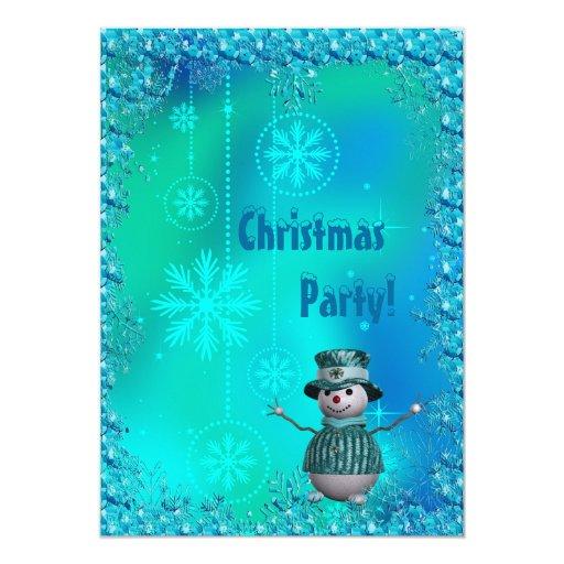Muñeco de nieve, copos de nieve azules y fiesta de invitación