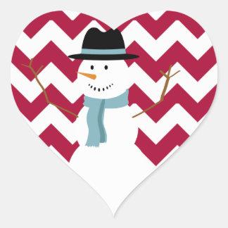 Muñeco de nieve de Chevron del bastón de caramelo Pegatina En Forma De Corazón