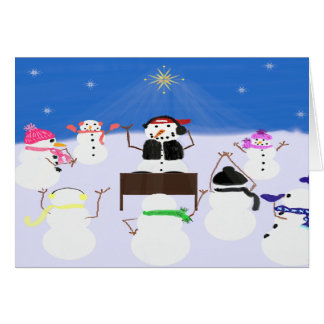 Muñeco de nieve de DJ y tarjeta de los amigos