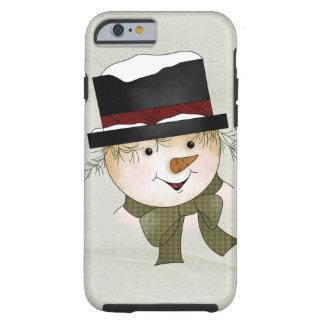 Muñeco de nieve de encargo hermoso del navidad funda resistente iPhone 6