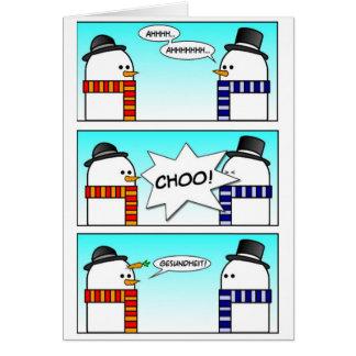 Muñeco de nieve de estornudo tarjeta de felicitación