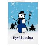 Muñeco de nieve de Finlandia de las Felices Navida Tarjeton
