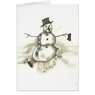 Muñeco de nieve de fusión tarjeta de felicitación