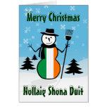 Muñeco de nieve de Irlanda de las Felices Navidad  Tarjetón