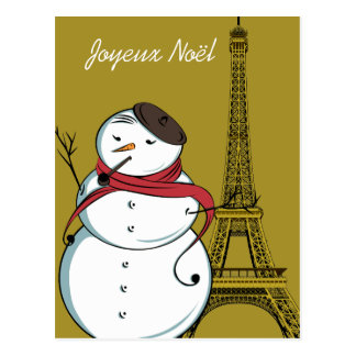 Muñeco de nieve de Joyeux Noël Postal