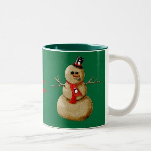 ¡Muñeco de nieve de la arena! Taza De Café De Dos Colores