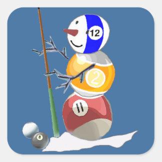 Muñeco de nieve de la bola de billar calcomanía cuadradase