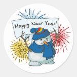 muñeco de nieve de la Feliz Año Nuevo Pegatina Redonda