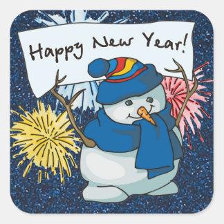 muñeco de nieve de la Feliz Año Nuevo Pegatina Cuadrada