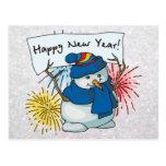 muñeco de nieve de la Feliz Año Nuevo Tarjeta Postal