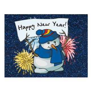 muñeco de nieve de la Feliz Año Nuevo Tarjetas Postales