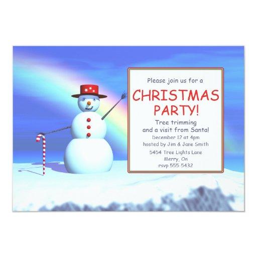 Muñeco de nieve de la fiesta de Navidad de los Invitación Personalizada