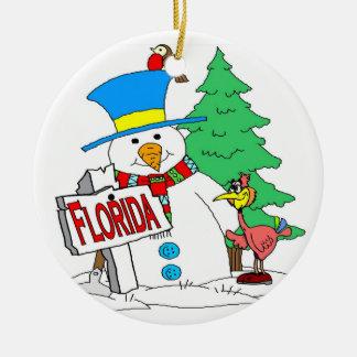 Muñeco de nieve de la Florida Adorno Navideño Redondo De Cerámica