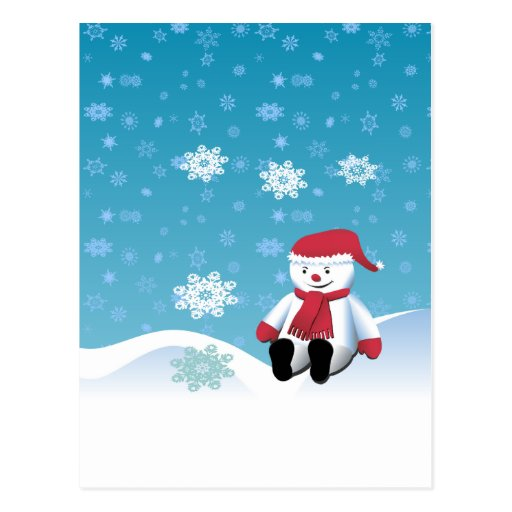Muñeco de nieve de la ladera tarjetas postales
