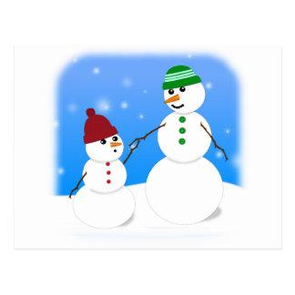 Muñeco de nieve de la madre y del bebé tarjeta postal