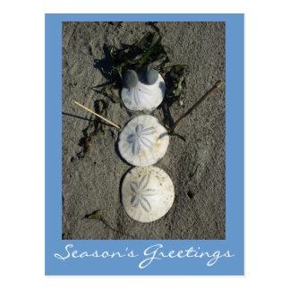 Muñeco de nieve de la playa postal