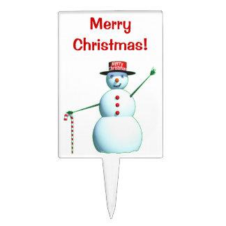 Muñeco de nieve de las Felices Navidad 3D Decoración Para Tarta